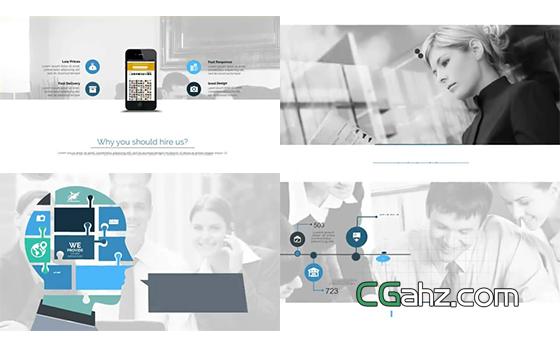内容超级丰富的现代企业商务宣传片AE模板