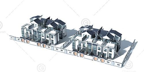 中式别墅3D模型下载