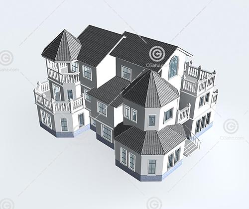 带有罗马柱的别墅模型下载