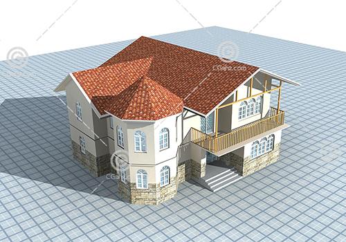 简单的双层别墅3D模型下载