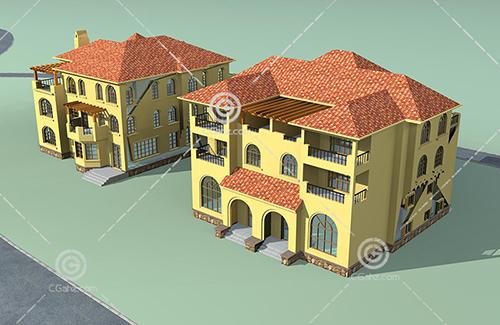两栋带有别墅的3D模型下载