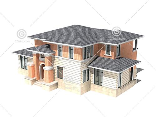 带有台阶的双层别墅模型下载