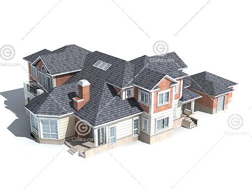复杂的别墅3D模型下载