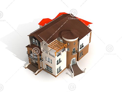 简单的欧式别墅3D模型下载
