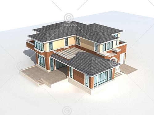 带有台阶的独栋别墅3D模型下载