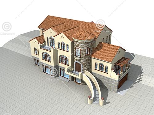 带有地下室的别墅3D模型下载
