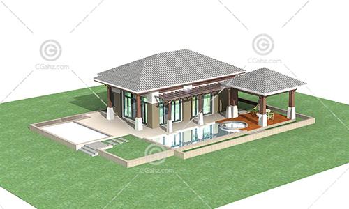 带有泳池的单层别墅3D模型下载