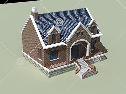 带有台阶的单层别墅3D模型下载