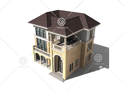 欧式三层别墅模型下载