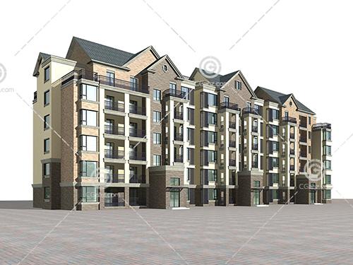 带有阳台的多层建筑3D模型下载