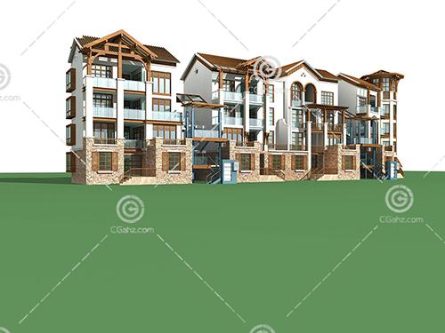 联排多层建筑3D模型下载