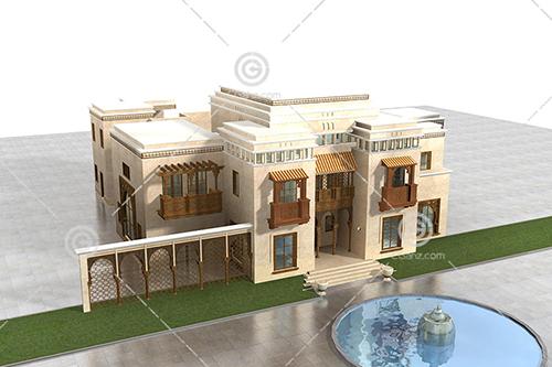 带有泳池的欧式别墅3D模型下载