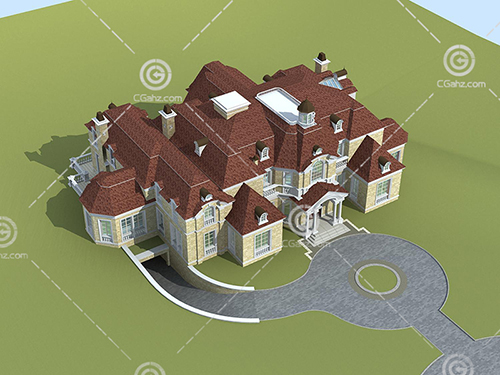 大型独栋别墅3D模型下载