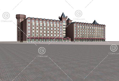 简单的欧式多层建筑3D模型下载