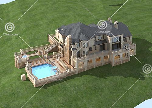 带有泳池的豪华别墅3D模型下载