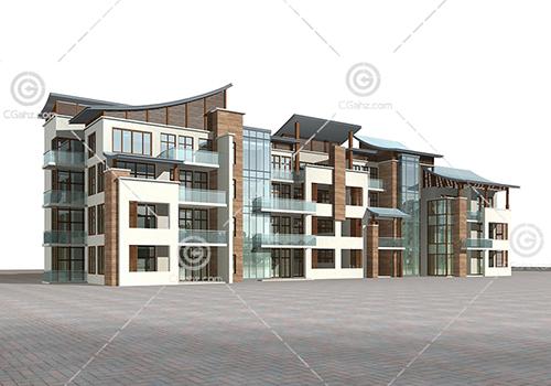 现代多层住宅3D模型下载