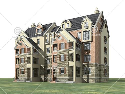 双拼多层住宅3D模型下载