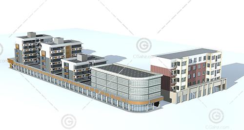 沿街多层住宅3D模型下载