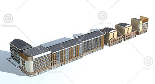 整排多层住宅3D模型下载