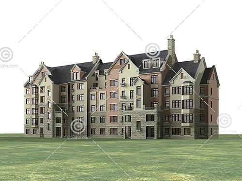 排屋样式的多层建筑3D模型下载