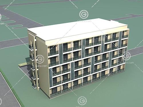 宿舍楼样式的多层建筑3D模型下载