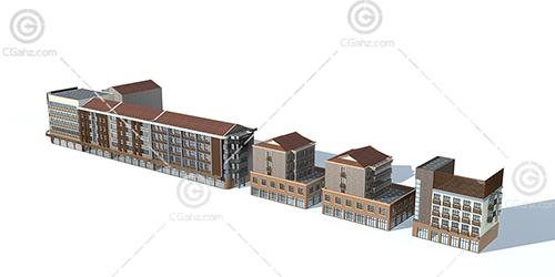 整排的沿街多层住宅3D模型下载
