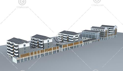 沿街多层建筑3D模型下载