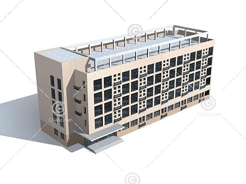 四方形多层建筑3D模型下载