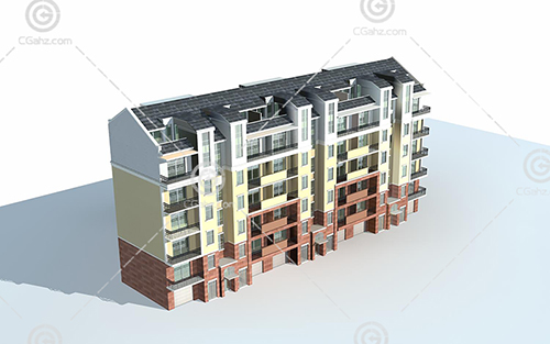 单排的多层住宅3D模型下载
