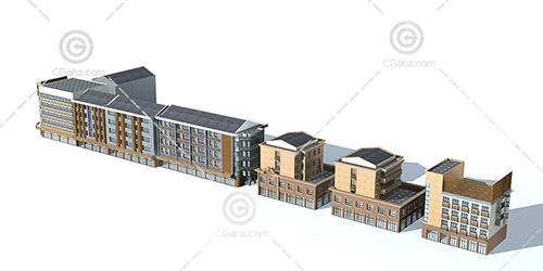 整排的多层建筑3D模型下载