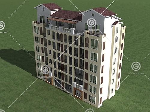结构简单的多层住宅3D模型下载