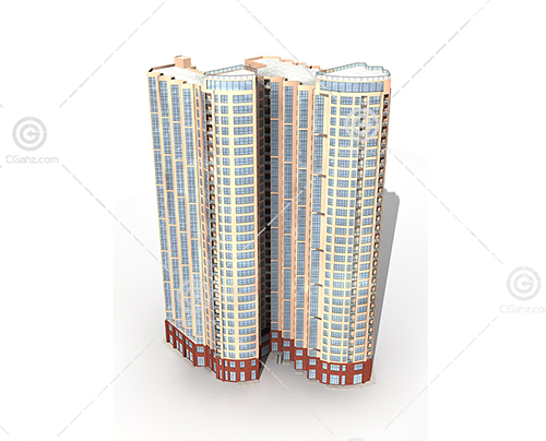 两栋高层住宅3D模型下载