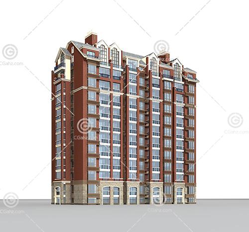 横排高层住宅3D模型下载