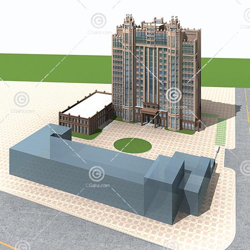对称的高层住宅3D模型下载