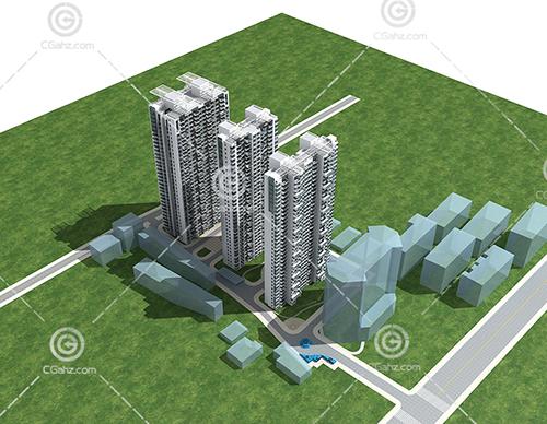 3栋高层住宅3D模型下载