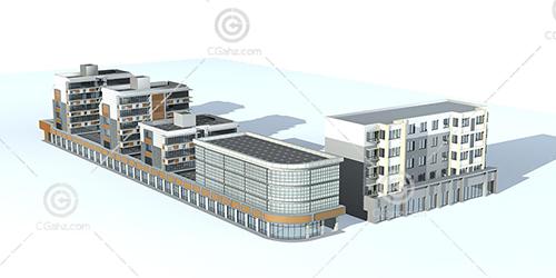 沿街住宅3D模型下载