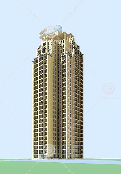 现代高层住宅3D模型下载