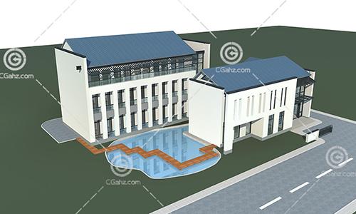 带有泳池的多层住宅3D模型下载