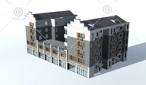 中式多层住宅3D模型下载