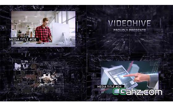 未来科技感空间内容展示开场AE模板