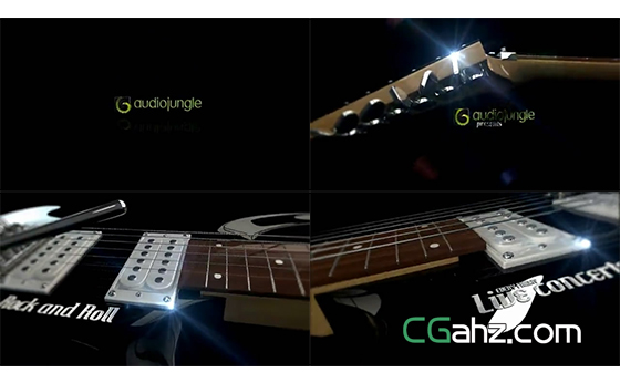 和吉他一起展示的文字标题开场AE模板