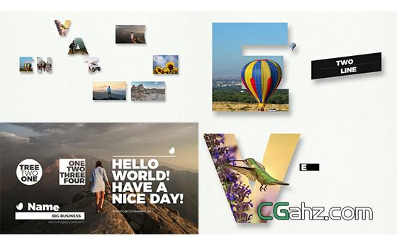 现代创意抠像图像与文字排版动画AE模板