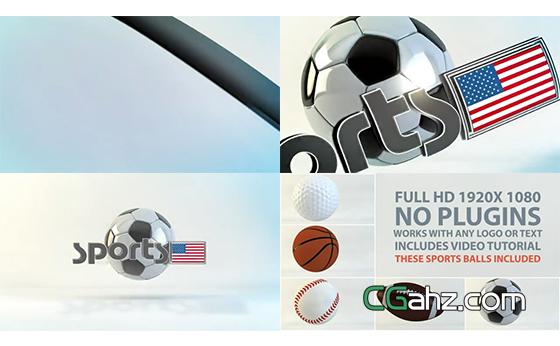 三维球类运动主题的标志开场动画AE模板
