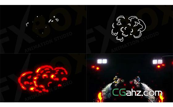 卡通手绘风格的火焰特效元素集AE模板