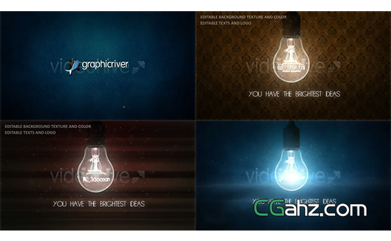 象征着灵感与创意的灯泡标志开场AE模板