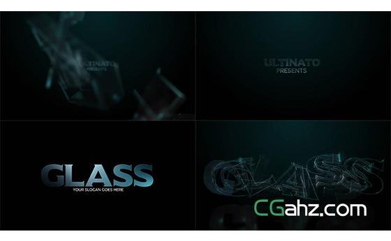 反光的透明玻璃质感标志入场特效AE模板