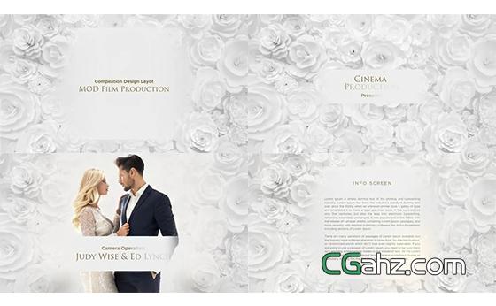 圣潔白色玫瑰主題的婚禮整體包裝AE模板