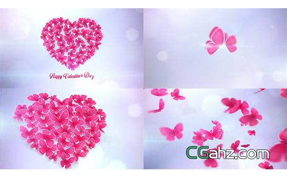 粉色蝴蝶飞舞簇拥成一颗爱心AE模板