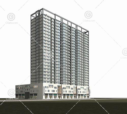 商业街高层住宅3D模型下载
