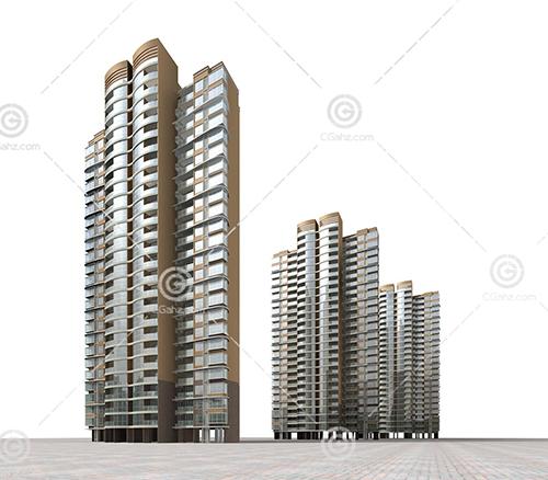 三栋高层住宅3D模型下载